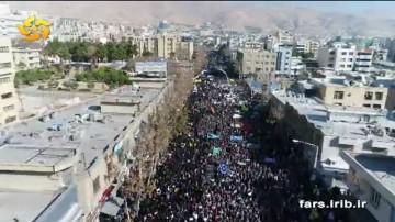 تصاویر هوایی راهپیمایی با شکوه مردم انقلابی شیراز چهاردهم دی ماه 96
