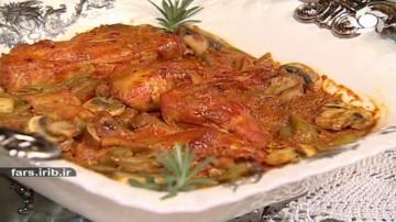 خورشت لوبیا سبز و قارچ