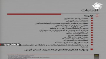 اقدامات استان فارس برای مقابله با کرونا